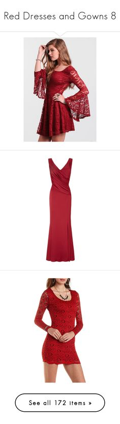 """Red Dresses and Gowns 8"" by meranda-joi ❤ liked on Polyvore featuring dresses, red dress, red, short dresses, red lace cocktail dress, red lace dresses, fit and flare cocktail dress, short lace dress, gowns and long dresses"