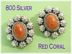 800 Silver - Coral Concho 1940s Clip Earrings - Red Salmon Coral - Native American Tribal - Estate Antique - Perfect Gift - FREE SHIPPING by FindMeTreasures on Etsy