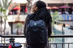 Christina wearing the Tortuga Packable Daypack