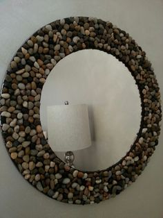 made Rustic Rock mirror- so easy to do. Just a bag of rocks and a hot glue . Home made Rustic Rock mirror- so easy to do. Just a bag of rocks and a hot glue ., Home made Rustic Rock mirror- so easy to do. Just a bag of rocks and a hot glue . Diy Crafts Hacks, Diy Home Crafts, Diy Arts And Crafts, Diy Home Decor, Mirror Crafts, Diy Mirror, Diy Para A Casa, Diy Diwali Decorations, House Plants Decor