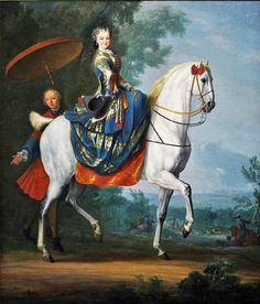1730s Marie Leczinska Queen of France (1703-1768), riding side sadle on a white horse, the moor attendant with parasol