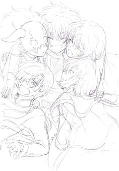 Group hug between the five dragons :,) So adorable. By Okara on pixiv