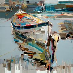 Josef Kote - Splendid - Search Gallery One for Abstract & Contemporary limited edition prints, giclee canvases and original paintings by internationally-known artists Abstract Painters, Abstract Art, Pinterest Pinturas, Boat Painting, Knife Painting, Boat Art, Nautical Art, Nautical Design, Art World