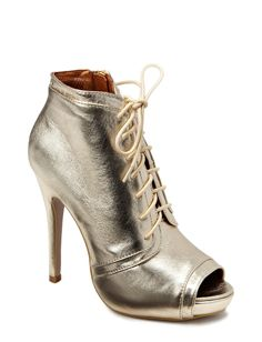 Charlie - Achieve this season's trend in this metallic lace-up heels from Friis & Company featuring a pencil heel, peep-toe opening and side zip closure. Heel: 12cm, Platform: 2cm.