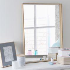 Spiegel met lijst, naturel hout, hoogte 70 cm, ELIN