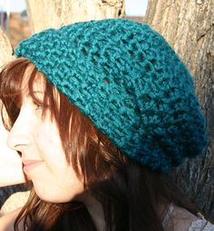Turquoise Oversize Slouch hat.
