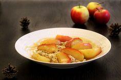 Overnight Oats mit Äpfeln in Honig Karamell