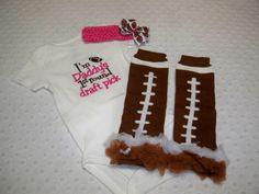 Baby Girl Football Onesie Leg Warmers and by grinsandgigglesbaby1, $30.00