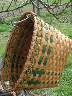 Rectangle Laundry Basket  Woven in Green.