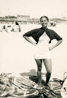 1960 Vintage Photo Snapshot Bathing Swimsuit Black African American Girl Beach | eBay