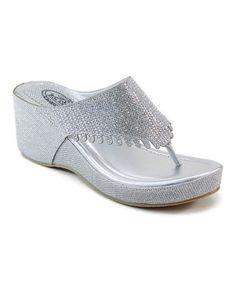 Look what I found on #zulily! Silver Rhinestone Shower Sandal by Italina #zulilyfinds