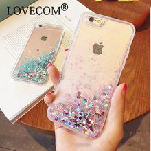 LOVECOM Del Amor Del Corazón Estrellas Estrellas Brillo Caja Del Teléfono Para el iphone 5 5S SÍ 6 6 S 7 Más Dinámico Liquid Quicksand TPU Suave de La Contraportada(China)