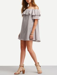 Shop Grey Ruffle Off The Shoulder Shift Dress online. SheIn offers Grey Ruffle Off The Shoulder Shift Dress & more to fit your fashionable needs.