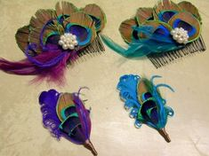 Feather boutonnieres, colorful fascinators, and more....La Plume Ethere wants to make your feathery wedding accessories