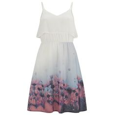 Vero Moda Women's Daisy Floral Dress - Tropical Peach ($58) ❤ liked on Polyvore featuring dresses, vestidos, multi, midi dress, floral shift dress, midi skater skirt, floral summer dresses and white spaghetti strap dress