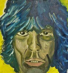 Markante kop van Mick Jagger (olieverf)