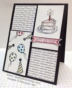 Sketched Birthday, Stampin Up!, Brian King - like the printed birthday and celebrate squares