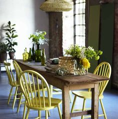 [ Cheerful Summer Interiors Green Yellow Kitchen Designs Cheerful Summer Interiors Green Yellow Kitchen Designs ] - Best Free Home Design Idea & Inspiration Moodboard Interior, Yellow Kitchen Designs, Sweet Home, Painted Chairs, Wooden Chairs, Painted Tables, Painted Wood, Rustic Table, Farmhouse Table