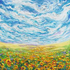 Red Barrel Studio Iris Scott - Big Sky, Small Sunflowers Painting Print on Wrapped Canvas Size: Sunflower Canvas, Small Sunflower, Art Inspo, Painting Inspiration, Artist Painting, Painting Prints, Art Prints, Finger Painting Art, Arte Van Gogh