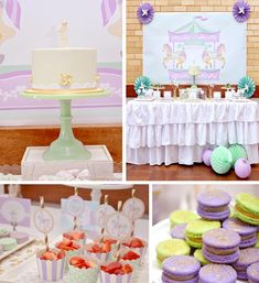 Carousel 1st Birthday Party with Cute Ideas via Kara's Party Ideas   KarasPartyIdeas.com #Carousel #Pinwheels #Streamers #PartyIdeas #Supplies