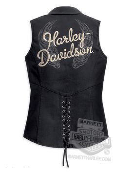 Harley-Davidson® Womens Traditional Wing Lace Back Allover Enzyme Wash Black Sleeveless Woven Shirt