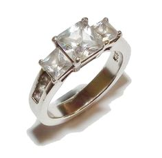 Stamped 925 Sterling Silver & Gem Set 3 Stone Ring With Accents - UK Size L