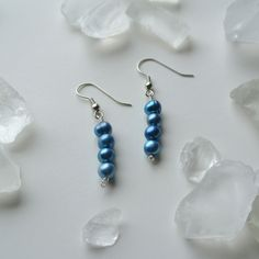 Iridescent Deep Blue Seas and Silver Freshwater Pearl Dangle Earrings