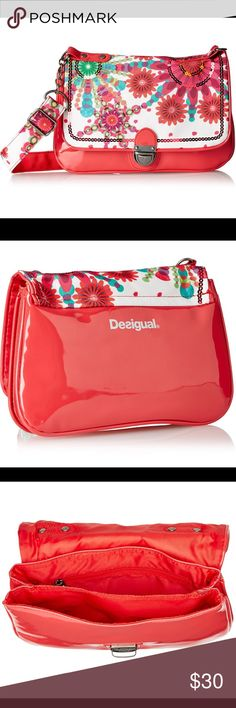 """Desigual Girls Convertible Floral, Sequence, Purse Desigual Purse for girls. Flap has floral designs in pink, green, blues, white, finished off with sequence for a touch of sparkle. Convertible wear it crossbody, on shoulder. Flap with metal snap clasp closure. Adjustable shoulder strap attached to chain. 2 main compartments with 1 one zipper pocket, 1 slit pocket, 1 mobile pocket. It has small scuffs in back (see last pic).  Measurements: 10""""Lx 7""""Hx 2""""W Materials: Shell: 46% Patent PU…"""