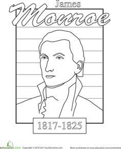 President's Day Kindergarten National Symbols History Worksheets: Color James Monroe