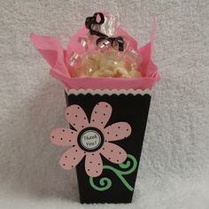 Popcorn Favor Boxes black with pink flowers napkins by susiedees, $20.00