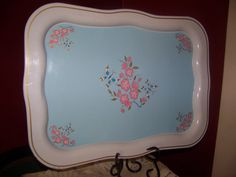 Pretty vintage Shabby Chic Tin Serving Tray by VerucasVintage, $15.00