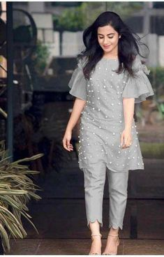 Beautiful Cotton Moti Work Dress Material without Dupatta from Party Wear Indian Dresses, Designer Party Wear Dresses, Indian Gowns Dresses, Kurti Designs Party Wear, Indian Fashion Dresses, Indian Designer Outfits, Pakistani Fashion Casual, Simple Kurta Designs, Kurta Designs Women