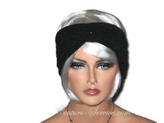 """Black Bandeau Turban, Handmade Textured by Couture Service This bandeau is a textured knit with a spongy feel. Self lined, back length is adjustable,One size fits most. Mannequin's head measures 22"""".Can be worn smooth, or ruched."""