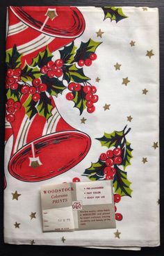 "Vintage Christamas Printed Tablecloth Bells 54""x72"" Orginal Tag Red Green Gold"