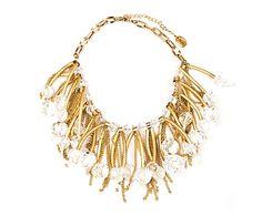Collar de cristales Cascade - dorado