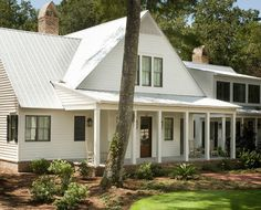 The siding paint color is Sherwin Williams SW 7009 Pearly White. Windows: Aluminum Clad, Wood, SDL, Double Hung, PlyGem, Impact Glazing, Color is Taupe. Roof: Galvanized metal roofing, crimped 5V profile. Markalunas Architecture Group.