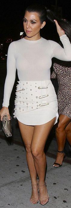 Kourtney Kardashian: Purse Charlotte Olympia Shirt – Wolford Shoes – Yeezy Skirt – Luciana Balderrama