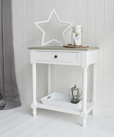 Cove Bay Small Console Table Or Lamp Table In White And Grey For Hall  Furniture.