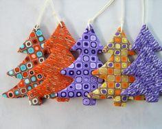 Christmas Sale - Christmas Tree Decoration, Set of 5 Polymer Cay Handmade  Christmas Trees. $24.90, via Etsy.