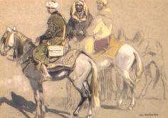 Trois cavaliers marocains von Edouard Edmond Doigneau