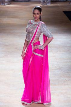 Sari by Sulakshana Monga at ICW 2014 #saree #sari #blouse #indian #hp #outfit  #shaadi #bridal #fashion #style #desi #designer #wedding #gorgeous #beautiful