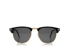 Tom Ford - Vintage wayfarer round shiny acetate sunglasses with metal insert and signature 'T' logo.