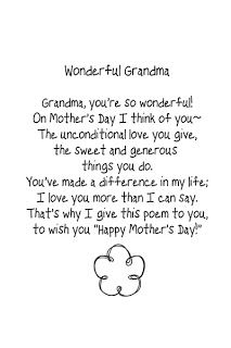 Mothers Day Poems For Grandmothers | It Works For Bobbi!: Free Mothers Day Template and Brush