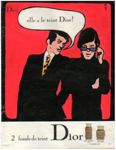 Dior make-up ad by René Gruau - I love the fact he used two guys instead of simply drawing a beautiful woman face!