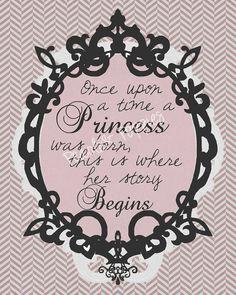 Nursery art baby girl princess storybook pink by PearlsAndPoppies, $25.00
