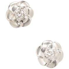 Chanel Women's Vintage Chanel 18K White Gold & Diamond Camelia Flower... ($2,270) ❤ liked on Polyvore featuring jewelry, earrings, silver, diamond earrings, white gold earrings, white gold stud earrings, stud earrings and silver earrings