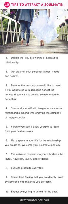 Here's 10 tips to help you attract a #soulmate.  #loa #love.   Visit the link for more.