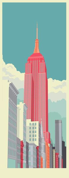 New York illustrations by remko heemskerk, via Behance color poster Avenue New York City, an art print by Remko Gap Heemskerk color architecture Illustration Arte, Graphic Design Illustration, Graphic Art, Creative Illustration, Illustration Example, Building Illustration, Character Illustration, 5th Avenue New York, New York City