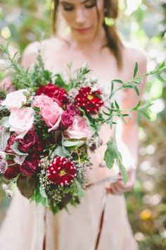 Red and pink bouquet: http://www.stylemepretty.com/little-black-book-blog/2015/02/12/garden-fairytale-valentine-wedding-inspiration/ | Photography: Anna Delores - http://www.annadelores.com/