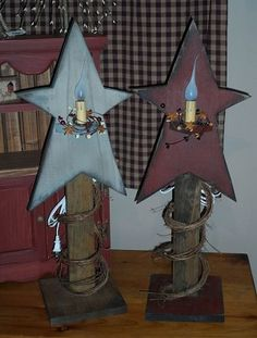 Wooden Star Primitive Table Lamps